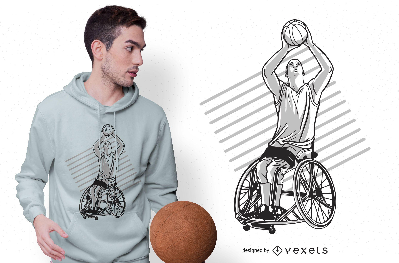 Diseño de camiseta de baloncesto en silla de ruedas.