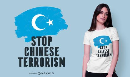 Detener el terrorismo chino diseño de camiseta