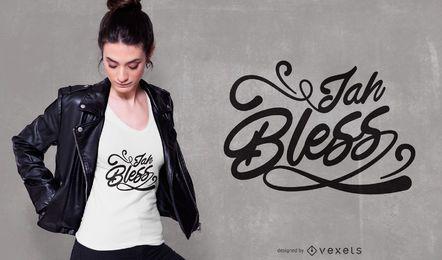 Jah abençoe letras design de t-shirt