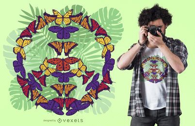 Diseño de camiseta de signo de la paz de mariposa.