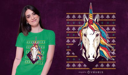 Ugly sweater unicorn t-shirt design