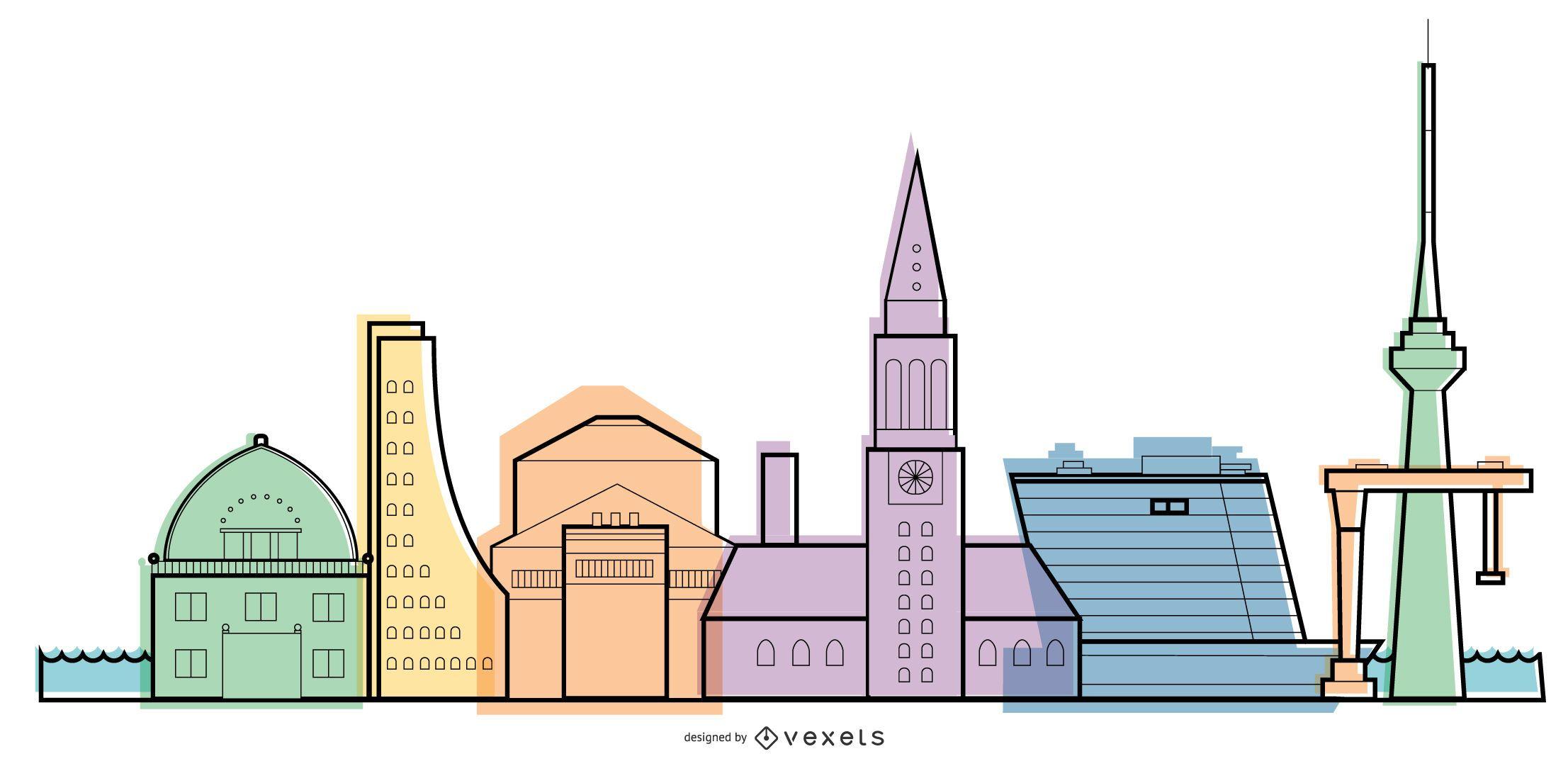 Kiel skyline illustration