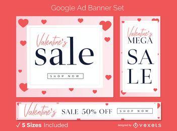 Conjunto de banner publicitario de venta de San Valentín