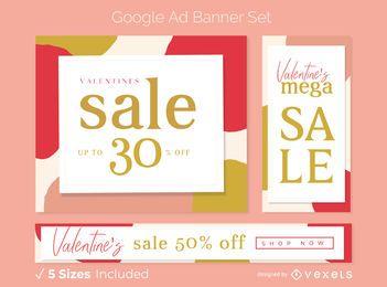 Conjunto de banner de anuncio de venta de San Valentín