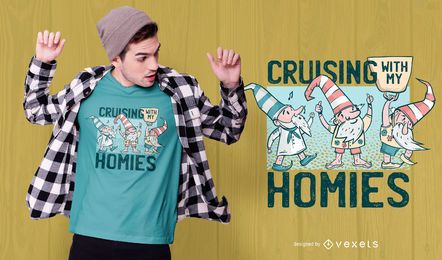 Design de camisetas de gnomos Cruising
