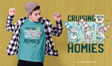 Diseño de camiseta de gnomos de crucero