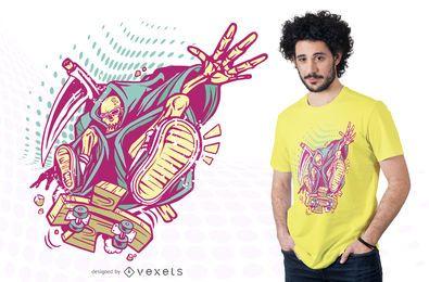 Diseño de camiseta de kickflip death