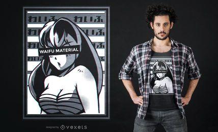 Diseño de camiseta de anime waifu material.