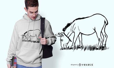 Diseño de camiseta de burro comiendo