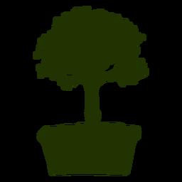 Bonsai pot trunk silhouette