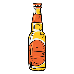 Botella de cerveza etiqueta plana