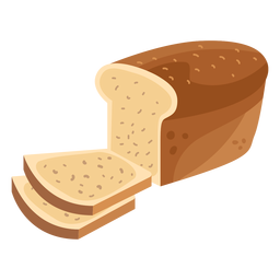 Bread loaf slice flat