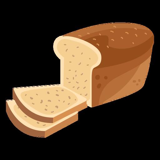 Bread loaf slice flat