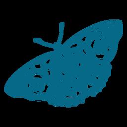 Silueta detallada de ala de antena de mariposa