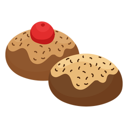 Cake pastry cherry flat