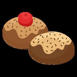Pastel pastelería cereza plana