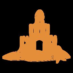 Silhueta detalhada de areia do castelo