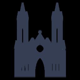 Catedral de igreja templo silhueta detalhada