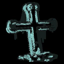 Cruz dio ilustración de línea
