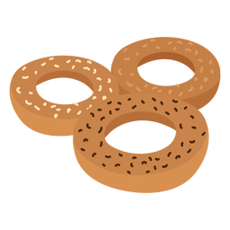 Donut bagel sesame flat