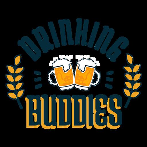 Drinking buddies badge sticker Transparent PNG