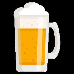 Cerveza de espuma cristal claro plano