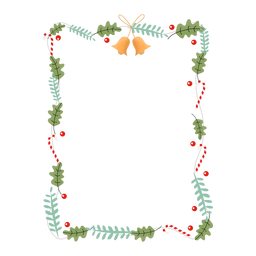 Frame garland bell branch sticker badge