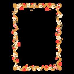 Insignia de la etiqueta engomada del bastón de caramelo de la hoja de la guirnalda del marco
