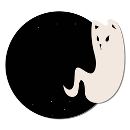 Ghost cat sticker badge