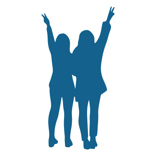 Girl pair posture silhouette