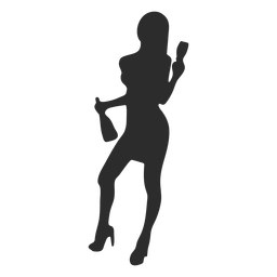 Silhueta de garrafa de vidro de mulher menina