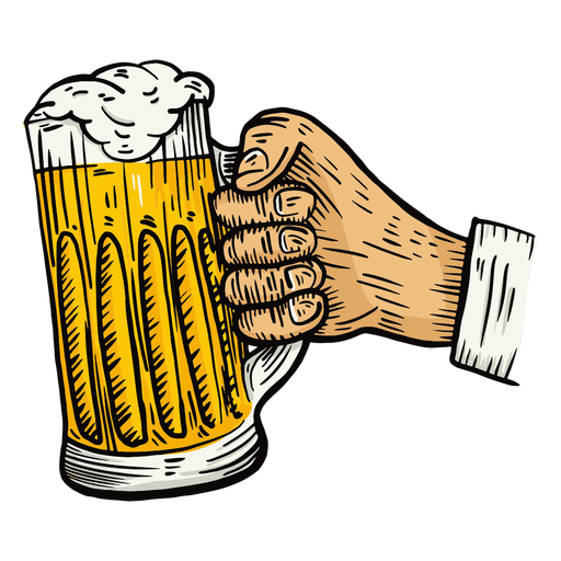 Glass beer hand illustration Transparent PNG