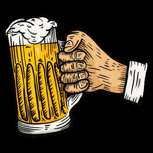 Glass beer hand illustration