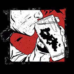 Glass beer man illustration