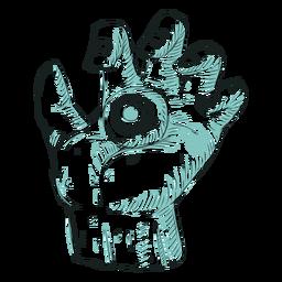 Hand eye line illustration
