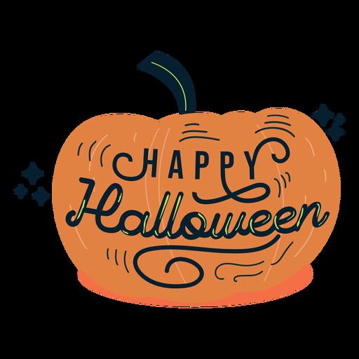 Insignia de etiqueta engomada de calabaza de halloween feliz