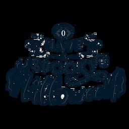 Tener una insignia de pegatina de halloween espeluznante
