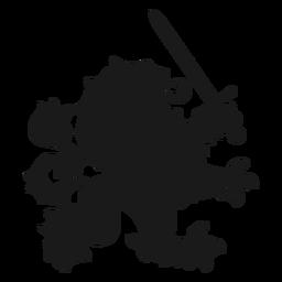 Silhueta de espada de cauda de leão