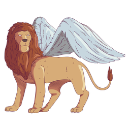 Lion wing colored coloured illustration
