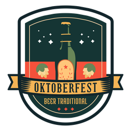Oktoberfest beer traditional bottle hop ribbon badge sticker