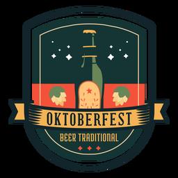 Oktoberfest cerveza tradicional botella de lúpulo cinta insignia