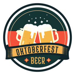 Oktoberfest beer cup glass ribbon badge sticker