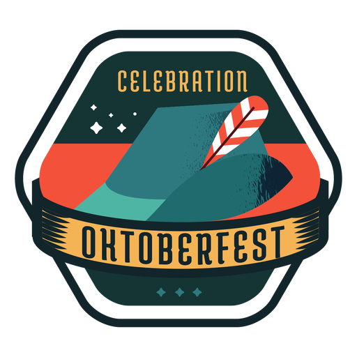 Etiqueta engomada de la insignia de la cinta del sombrero del casquillo de la celebración del Oktoberfest