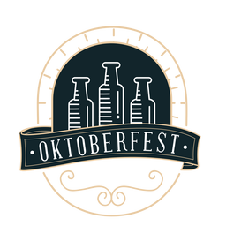 Oktoberfest bottle ribbon badge sticker
