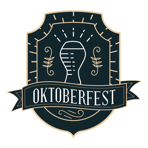 Oktoberfest glass ribbon badge sticker Transparent PNG