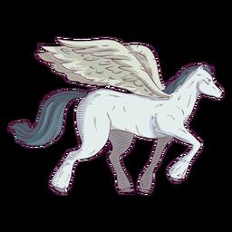 Ilustración coloreada de color caballo de Pegaso