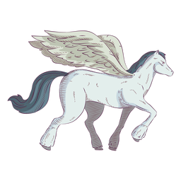 Pegasus horse colored coloured illustration