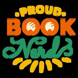 Etiqueta engomada orgullosa de la insignia de las gafas del nerd del libro