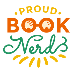 Proud book nerd glasses badge sticker