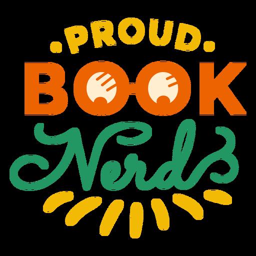 Proud book nerd glasses badge sticker
